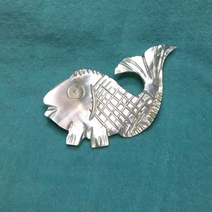 Vintage Mother of Pearl Fish Brooch